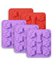 Cozihom Puppy Dog Paw & Bone Shaped 2 in 1 Silicone Molds, 8 Cavity, Food Grade, FDA Approved, BPA Free Mold for Chocolate, Candy, Cake, Pudding, Jelly, Dog Treats Molds. 5 Pcs