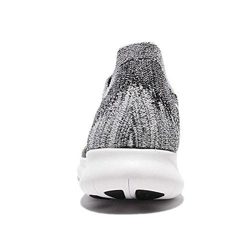 Nike Vrouwen Gratis Rn Flyknit 2017 Loopschoen Zwart / Wit-volt