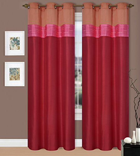 gorgeoushomelinenmany colors 1 panel valance 2 tone silky bronze grommet window curtains drape treatment 50 x wide 84 length jennys red rust - Rust Color Curtains