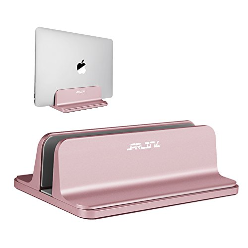 UPC 608887180664, Jarlink Vertical Laptop Stand, Desktop Space-saving Laptop Holder with Adjustable Dock Size Fits All MacBook Pro/Air Microsoft Surface, Notebooks Lenovo Dell Samsung Acer Asus XPS Sony HP (Rose Gold)