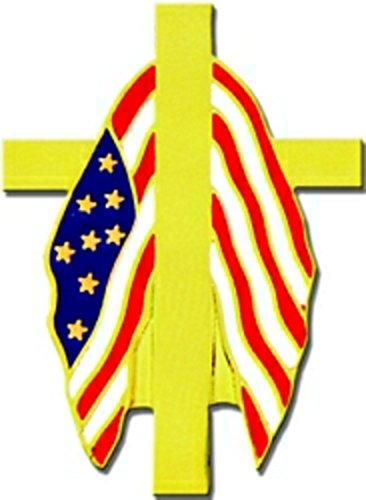 Flag Draped Cross Memorial Lapel Pin or Hat -