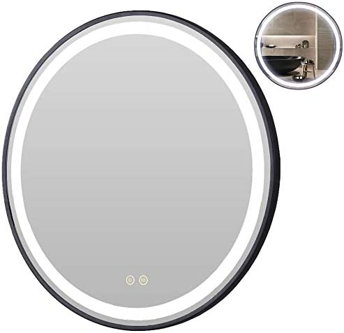 Petus House 32in LED Bathroom Mirrors, Wall Mount Lighted Smart Vanity Makeup Bathroom Mirrors, Black Frame, White Light Anti-Fog Memory Touch Button Waterproof CRI 90 5MM Copper Free Mirrors