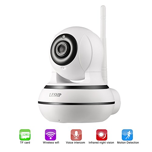 WiFi Camera, LESHP 960P Wireless Surveillance Camera IP Cam Nanny Cam with Pan Tilt Zoom Motion Detect Two Way Audio Night Vision Remote Control WiFi for Baby Monitor and Wireless Security (B/w Video Doorbell)