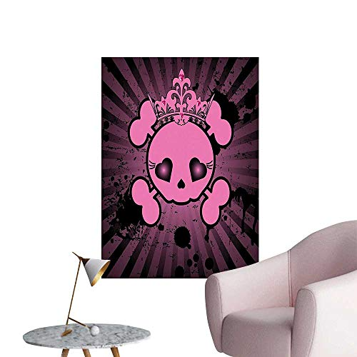 Modern Painting Cute Skull Illustration with Crown Dark Style Teen Spooky Halloween Print Pink Home Decoration,20