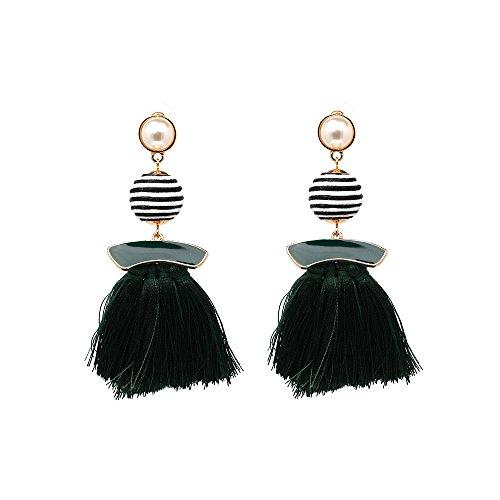 Navy Tassel Earrings - Fringe Statement Bohemian Dangle Earrings - Mall of Style (Denim ()