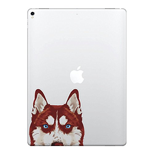 (FINCIBO 5 x 5 inch Red Siberian Husky Dog Removable Vinyl Decal Stickers for iPad MacBook Laptop (Or Any Flat Surface))
