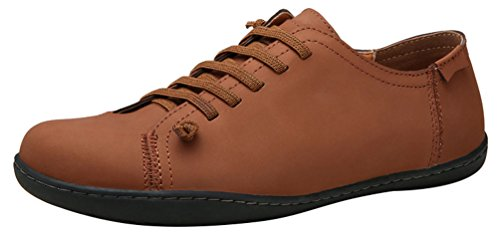 Abby 6336 Herren Casual Bussiness Lace Up Runde Kappe Freizeit Comfy Driving Sneakers Leder Braun