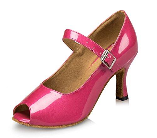 CRC Womens Stylish Peep Toe Leatherette Ballroom Morden Salsa Latin Tango Party Wedding Professional Dance Sandals Pink kmy548