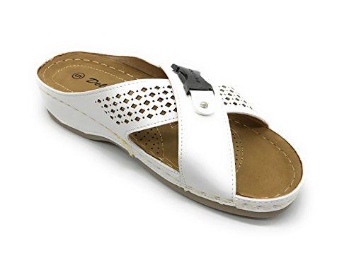 Footbed Blue Women EASY21 Berry Soft Pleather Sandal Blue White01 Berry ryq1rwBYS