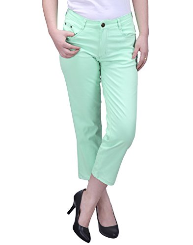 HDE Women's Mid-Rise Stretchy Slim Fit Cropped Jeans Denim Capri Pants (Mint, X-Large) (Green Cropped Pants)