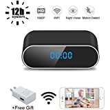 WiFi Hidden Spy Camera Clock UYIKOO, 1080P HD Video Recorder Wireless with Motion Detection/Loop Recording/Realtime Video Covert Nanny Cam for Home Security