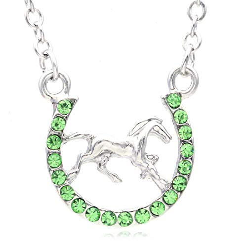 Soulbreezecollection Horse Mustang Pony Horseshoe Necklace Pendant Lucky Charm Western Cowboy Cowgirl ()