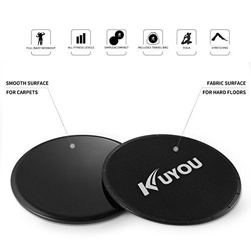 Disques de glissement de Kuyou double face pour les abdominaux Core Core Sliders double face pour tapis et sols durs à la maison et salle de sport (Noir)