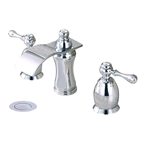 Wovier Chrome Waterfall Bathroom Sink Faucet,Two Handle Three Hole Lavatory Faucet,Widespread Basin Mixer Tap With Pop Up Drain,8 Inch Bathroom Faucet -