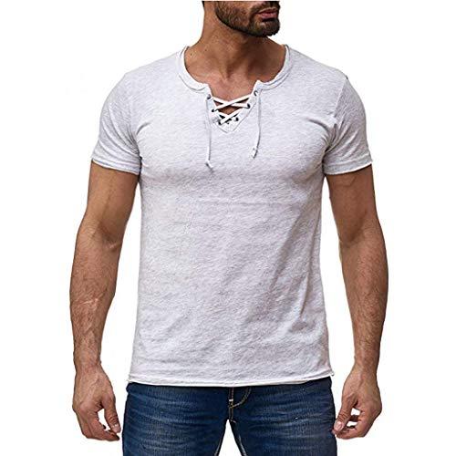 iHPH7 T-Shirt Men Tech Short Sleeve T-Shirt Summer Mens Fashion Casual Comfort Solid Color Strap Short Sleeve T-Shirt Blouse XXXL White]()