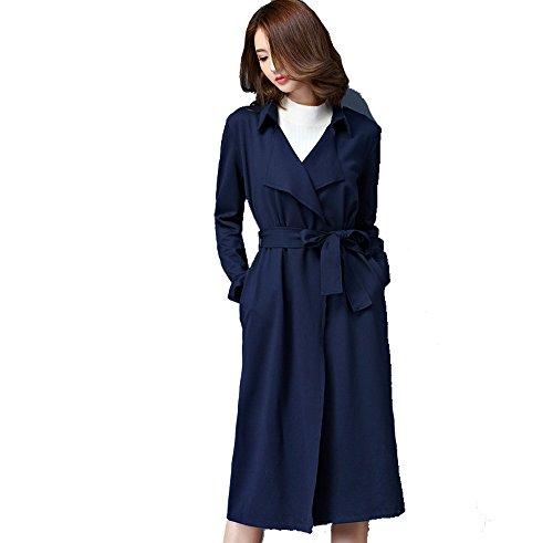 La Sra Cazadora Otoño Versión Slim Cazadora Yardas Mujeres Era Capa Fina Y Largas Secciones Multicolor Multi-tamaño,Blue-m