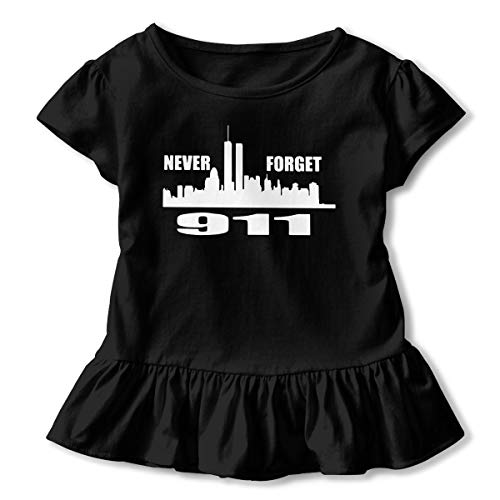 UyO0ij@ Girls' Short Sleeve 911 Never Forget Shirts, Fashion Tunic Shirt Dress with Flounces, 2-6T Black