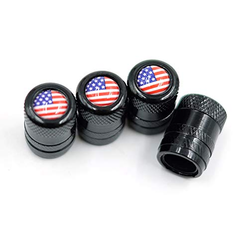 CK Auto 4 Pcs Aluminum Tire Valve Stem Caps with American USA Flag Logo, Universal Dust Proof Stem Covers, TPMS Safe & Corrosion Resistant, Black