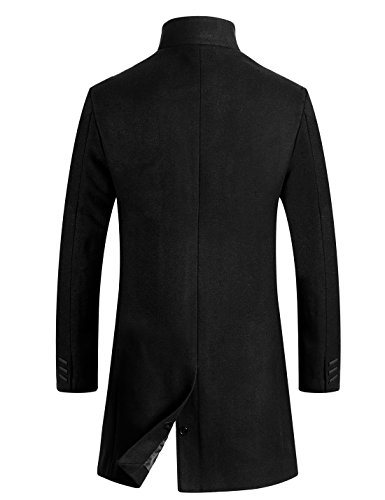APTRO Men's Wool Coat Slim Fit Business Overcoat FD01 Black L by APTRO (Image #1)