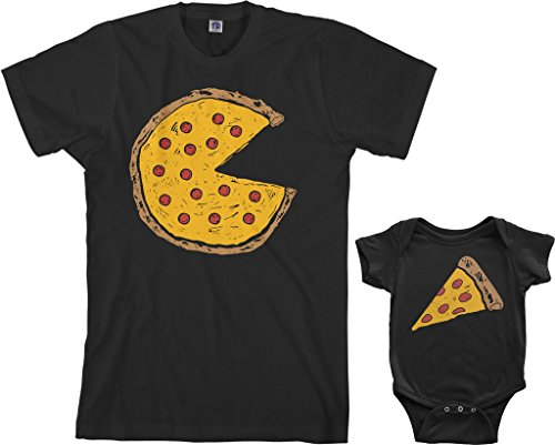 Pepperoni Pizza Slice - Threadrock Pizza Pie & Slice Infant Bodysuit & Men's T-Shirt Matching Set (Baby: 6M, Black|Men's: XL, Black)