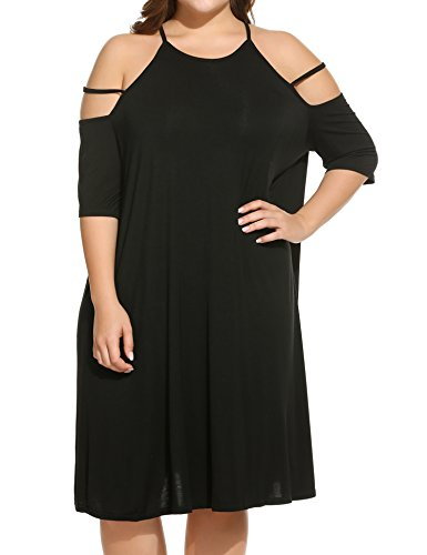 IN'VOLAND Women's Plus Size Summer Cold Shoulder Tunic Top Swing T-Shirt Loose Dress, Black, XXL