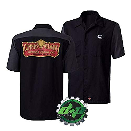 Diesel Power Plus Dodge Cummins Oil Engine Co. Shirt Logo Short Sleeve Gear Distressed Black/Gray (Large)