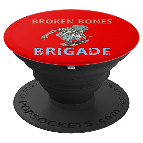 (Broken Bones Brigade Skeleton Skateboarder Pro-in-Training - PopSockets Grip and Stand for Phones and Tablets)
