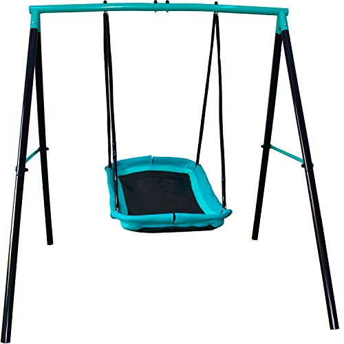 "JUMP POWER Swing Set - 70"" Single Swing Set Kids Birds Nest Swing Set with Sturdy Metal Frame Garden Fun for Up to 2 Children Toddler Swing with Stand All-Steel All Weather Stand Combo (Blue, XXL)"