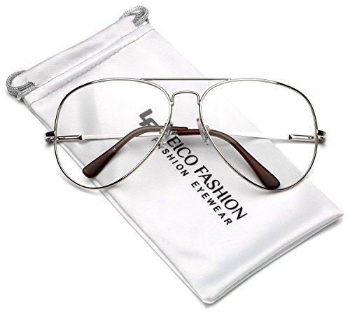 Full Rim Metal Retro Aviator Non Prescription Clear Lens Glasses - - Prescription Sunglasses Retro