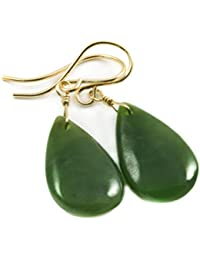 14k Gold Filled Nephrite Jade Dark Green Earrings Teardrop Smooth Dangle Drops