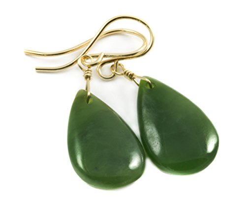 Earring Jade Ring (14k Yellow Gold Filled Nephrite Jade Earrings Dark Green Everyday Simple Teardrop Medium Smooth Drops)