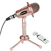 Neewer Computer(Windows,Mac) Condenser Microphone for Recording,Podcasting,Online Chatting Such as Facebook,MSN,Skype,with Audio Cable,Desktop Stand and USB 2.0 External Sound Card Adapter(Rose Gold)