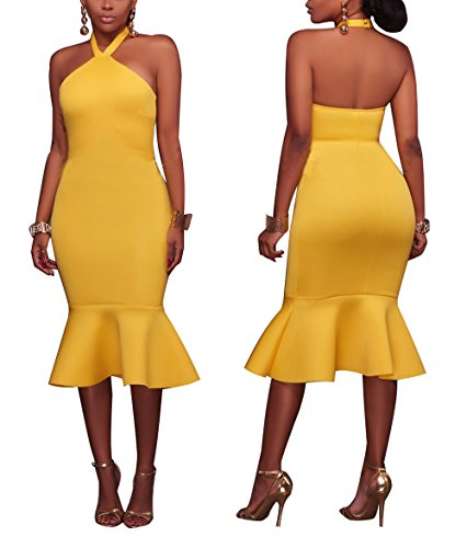 Yellow Dress Sexy (Sexycherry Women Sexy Halter Strappy Mermaid Elegant Backless Midi Bodycon Party)