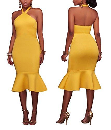 Dress Yellow Sexy (Sexycherry Women Sexy Halter Strappy Mermaid Elegant Backless Midi Bodycon Party)