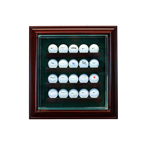 Perfect Cases 20 Golf Ball Cabinet Style Display Case with Hinged Door and Suede (Golf Memorabilia Shadow Box)