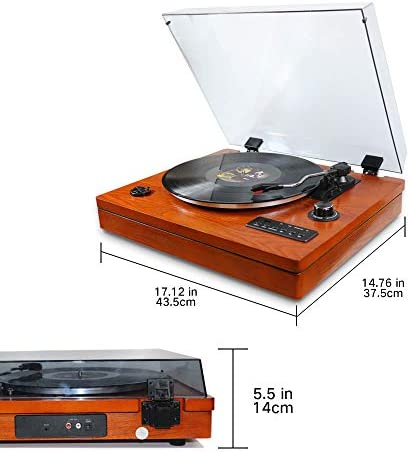 Turntable for Vinyl Records 3 Speed Portable Phonograph Record Player with Wireless Speakers, Bluetooth, Aux-in, USB Port for Flash Drive