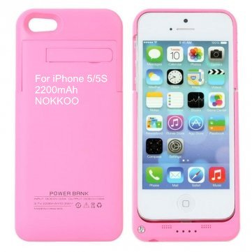 NOKKOO Rechargeable Battery Case 4200 mAh/2200 mAh for iPhone 5/5S/5C Charger Case Portable Charging Case with LED Display and USB Port Backup Power Emergency Power Supply (Pink, 2200mAh i5/5S)