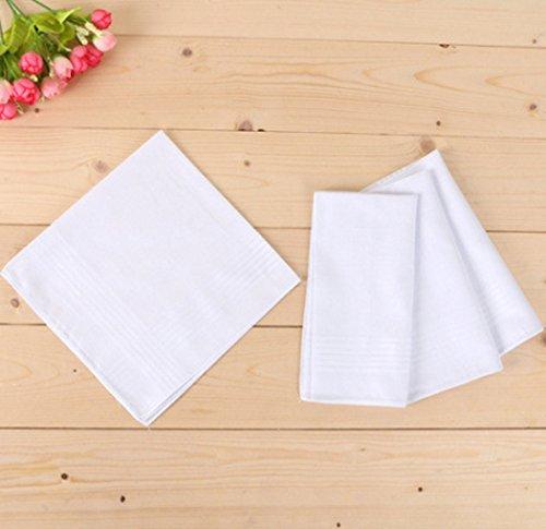 Baumwoll Taschentuch, Fascigirl 12 StüCk Pocket Taschentuch LäSsig Reines Weiß Tasche Hanky für Frauen