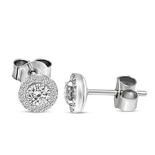 100% Real Diamond Earrings Luxury Stud Diamond Earrings 3/4 ct Lab Grown Diamond Stud Earrings Lab Created Diamond Earrings SI1-SI2-HI Quality 14K Gold Real Diamond Jewlery Gifts For Women ()