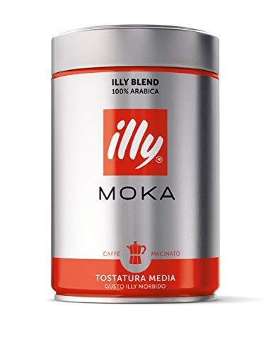 illy Coffee, Moka Ground, Medium Roast, 100% Arabica Bean Signature Italian Blend, Premium Gourmet Roasted Coffee, Pressurized Fresh 8.8 Ounce Tin, Stovetop Moka Pot Preparations