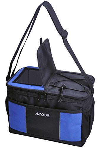 Soft Insulated Lunch Box (MIER Insulated Lunch Box Soft Cooler Bag Tote for Men, Women and Teens with Top Opening, 12 Can, Black)