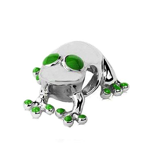 (Jovana Sterling Silver Lucky Frog Charm with Green Enamel, Fits Pandora Bracelet)