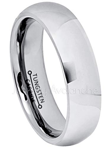 Jewelry Avalanche 5.5mm Comfort Fit Tungsten Wedding Band, Polished Finish Classic Dome Tungsten Carbide Ring, Tungsten Anniversary Ring - s10