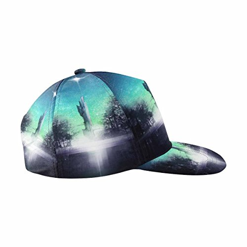 (InterestPrint Spacecraft Taking Off Towards Distant Stars in Forest Snapback Hats for Men Hip Hop Hats Flat Brim Hats Flat Bill Caps Adjustbale Unisex)