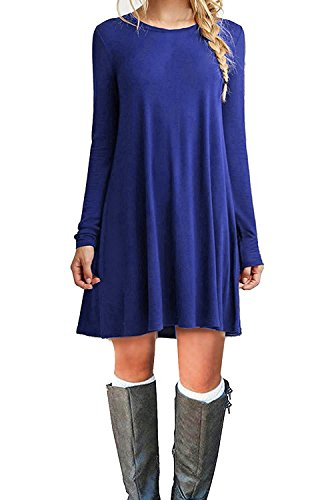 MOLERANI Women's Casual Plain Short Sleeve Simple T-Shirt Loose Dress (L, LS-Royal ()