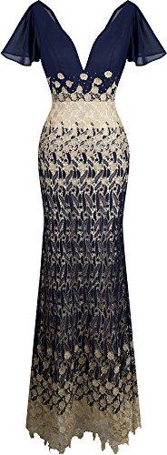Full Skirt Chiffon Prom Dress (Angel-fashions Women's V Neck Cap Sleeve Lace Chiffon Prom Dress Small)