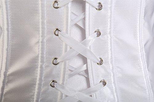Overbust Modellante Bianco Donna Bustino Burlesque Corsetto MISS MOLY Top Satin aO6SSq