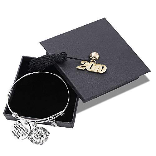 (M MOOHAM Graduation Gifts Bracelet for Her - Class of 2019 Inspirational Adjustable Bracelet Keep Going Bracelet with Graduation Cap Graduation Friendship Gifts for Her Him)