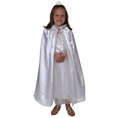 Play White Trim - Satin Cloak with Faux Fur Trim (White)