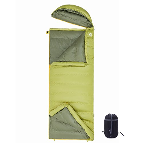 KingCamp Ultralight -14.8 Degree F -7.6 Degree F Down Sleeping Bag for Backpacking, Camping with Lightweight Compression Sack and Removable Hood